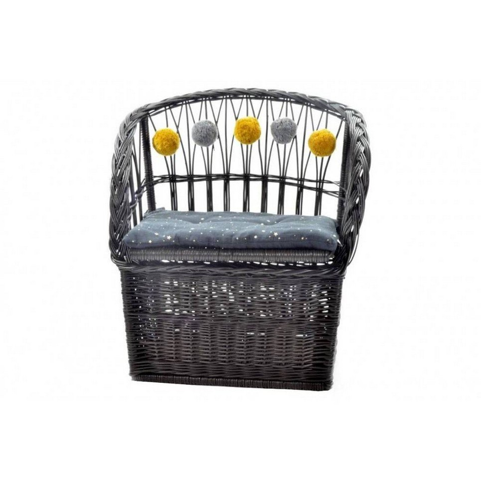 Graphite Wicker Seat With Trunk
