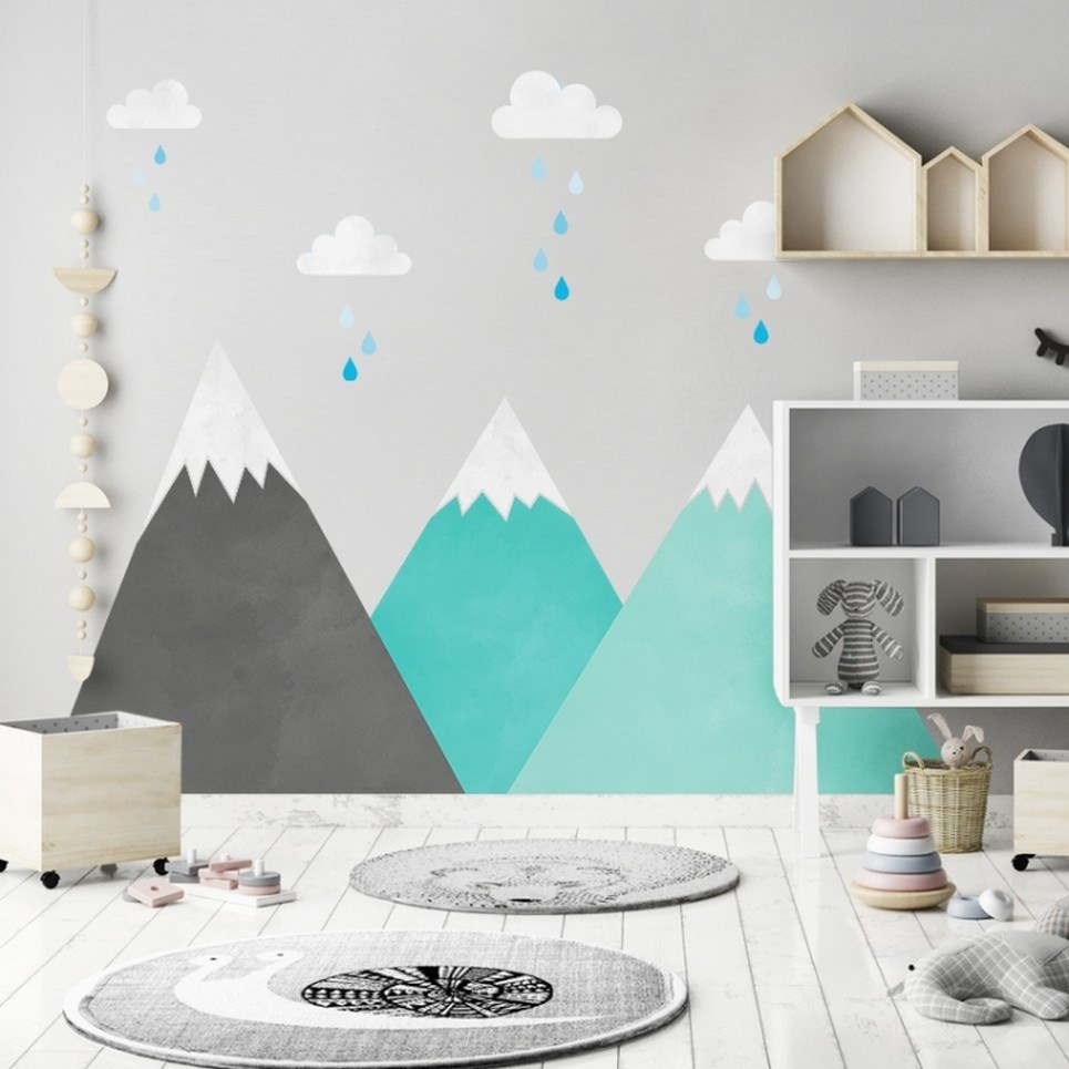 Mint Mountains and Clouds Children's Wall Sticker
