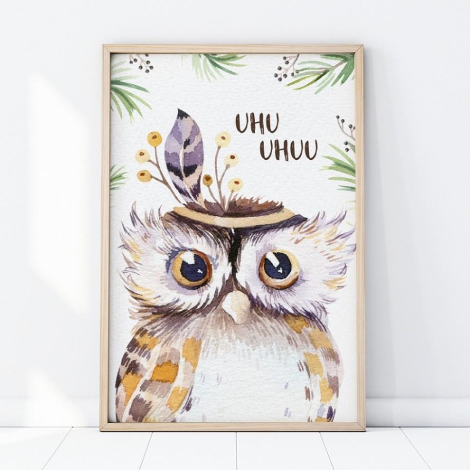 Owl Portrait Children's Poster
