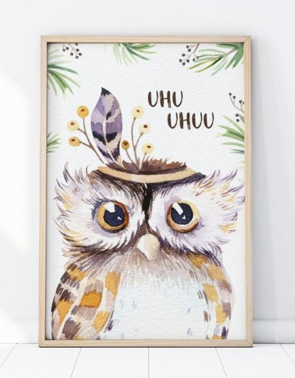 A unique keepsake that will create enchanting memories, the Owl Portrait Children's Poster is a really unique and eyecatching print that is loved by kids and adults. Encourage their wild side with this fun print. Designed in a playful font, they will make a great addition to any nursery, child's room, or playroom.