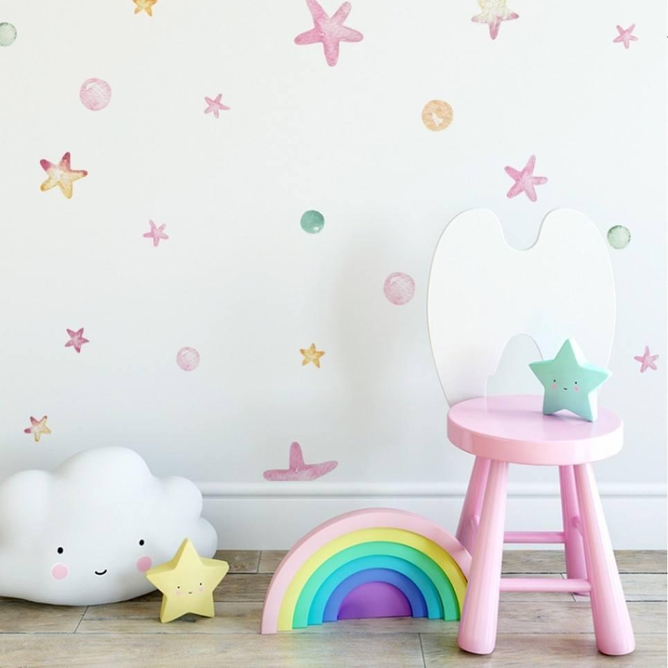 Pastel Stars and Dots Children's Wall Sticker