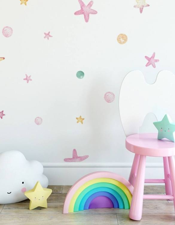 A beautiful scene for children's rooms and nurseries, the Pastel Stars and Dots Children's Wall Sticker is the perfect addition to any empty space (like walls or furniture). These wall stickers provide a flexible and cost-effective way to decorate your home.