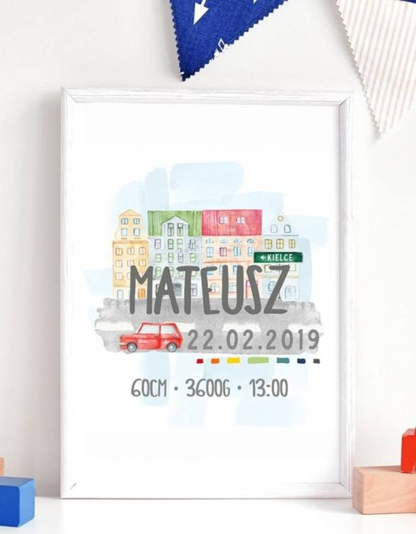 Perfect for a new baby or christening gift, the Personalised City Baby Birth Print features the details of a new baby's birth, the perfect present for a new baby.