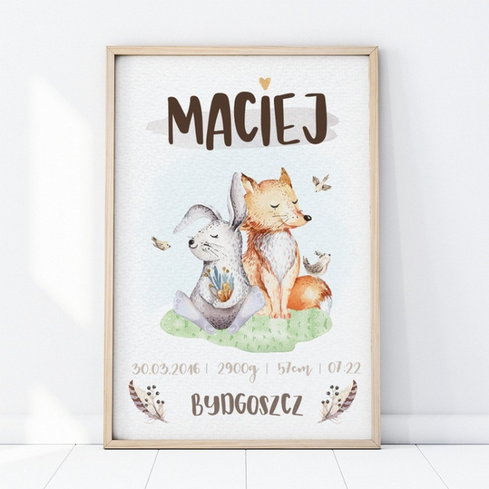 Personalised Forest Animals Baby Birth Print