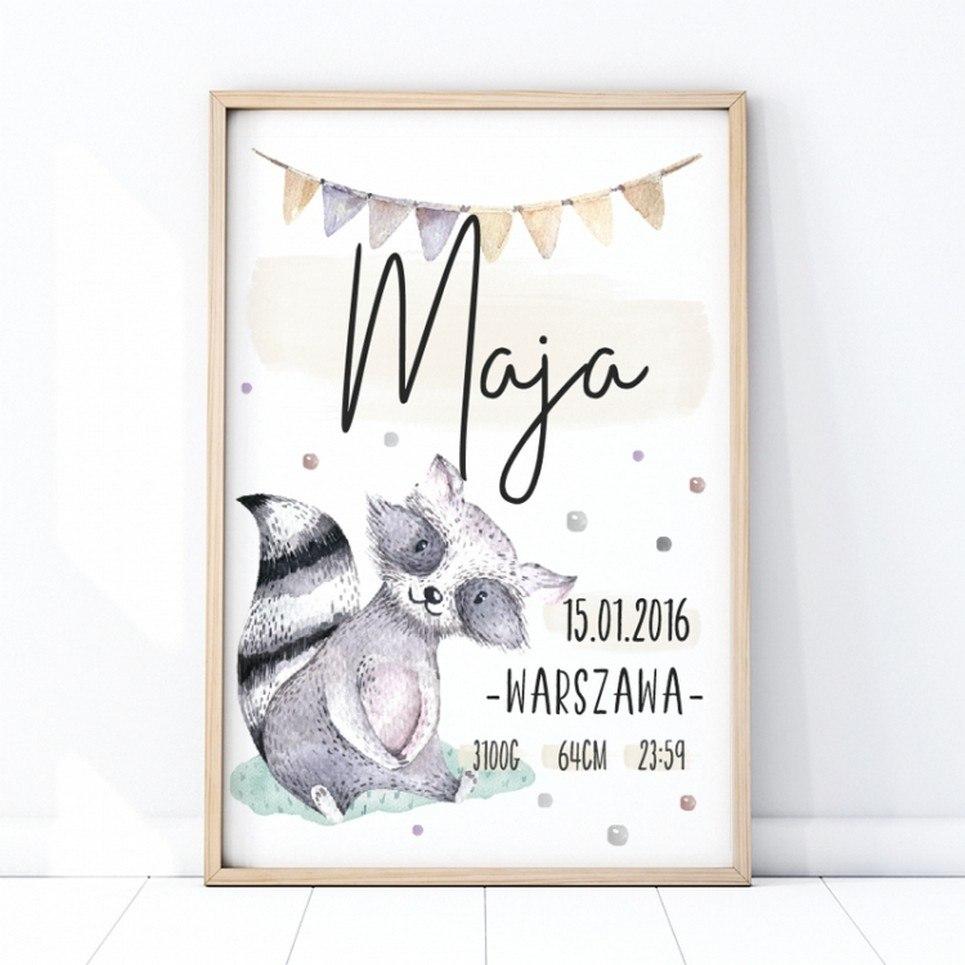Personalised Raccoon Baby Birth Print