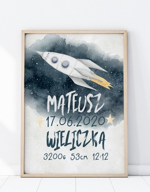 Perfect for a new baby or christening gift, the Personalised Rocket Baby Birth Print features the details of a new baby's birth, the perfect present for a new baby.