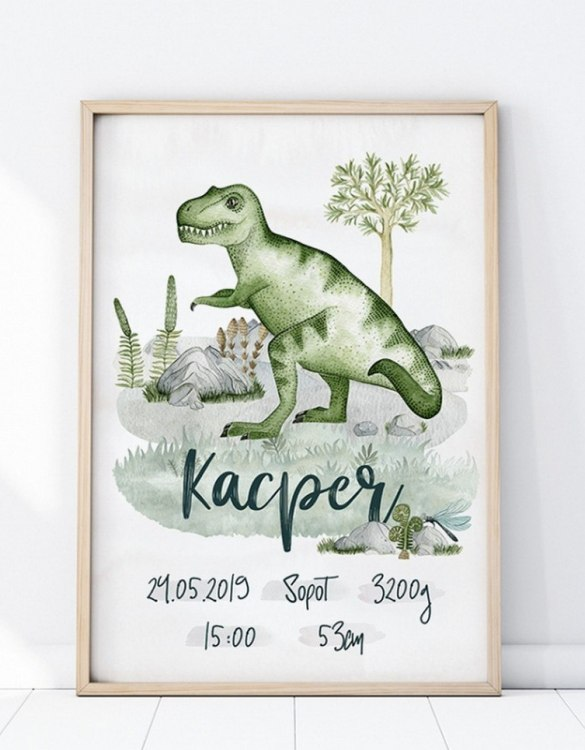 Perfect for a new baby or christening gift, the Personalised Tyranozaur Baby Birth Print features the details of a new baby's birth, the perfect present for a new baby.