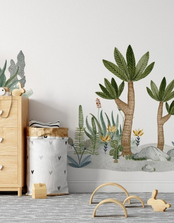 A beautiful scene for children's rooms and nurseries, the Plants Children's Wall Sticker is the perfect addition to any empty space (like walls or furniture). Time to travel back to the time when dinosaurs ruled the Earth!