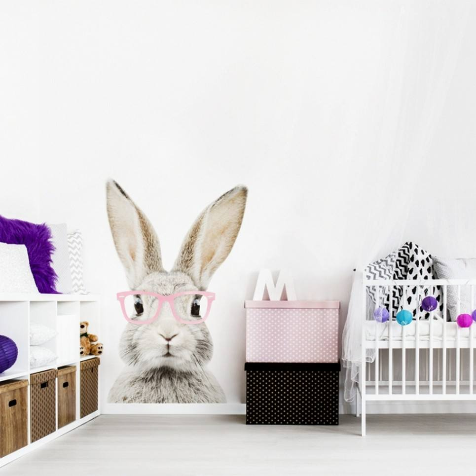 Stefan Rabbit With Glasses Children's Wall Sticker