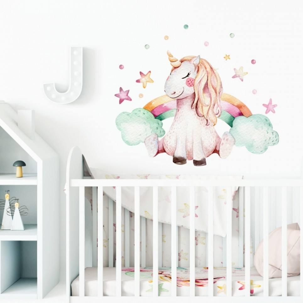 Unicorn and Rainbow Children's Wall Sticker