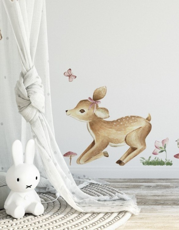A beautiful scene for children's rooms and nurseries, the Baby Deer Children's Wall Sticker is the perfect addition to any empty space (like walls or furniture). These wall stickers provide a flexible and cost-effective way to decorate your home.