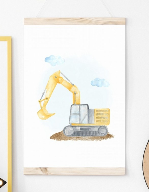 A unique keepsake that will create enchanting memories, the Backhoe Children's Poster is a really unique and eyecatching print that is loved by kids and adults. Encourage their wild side with this fun print. Designed in a playful font, they will make a great addition to any nursery, child's room, or playroom.