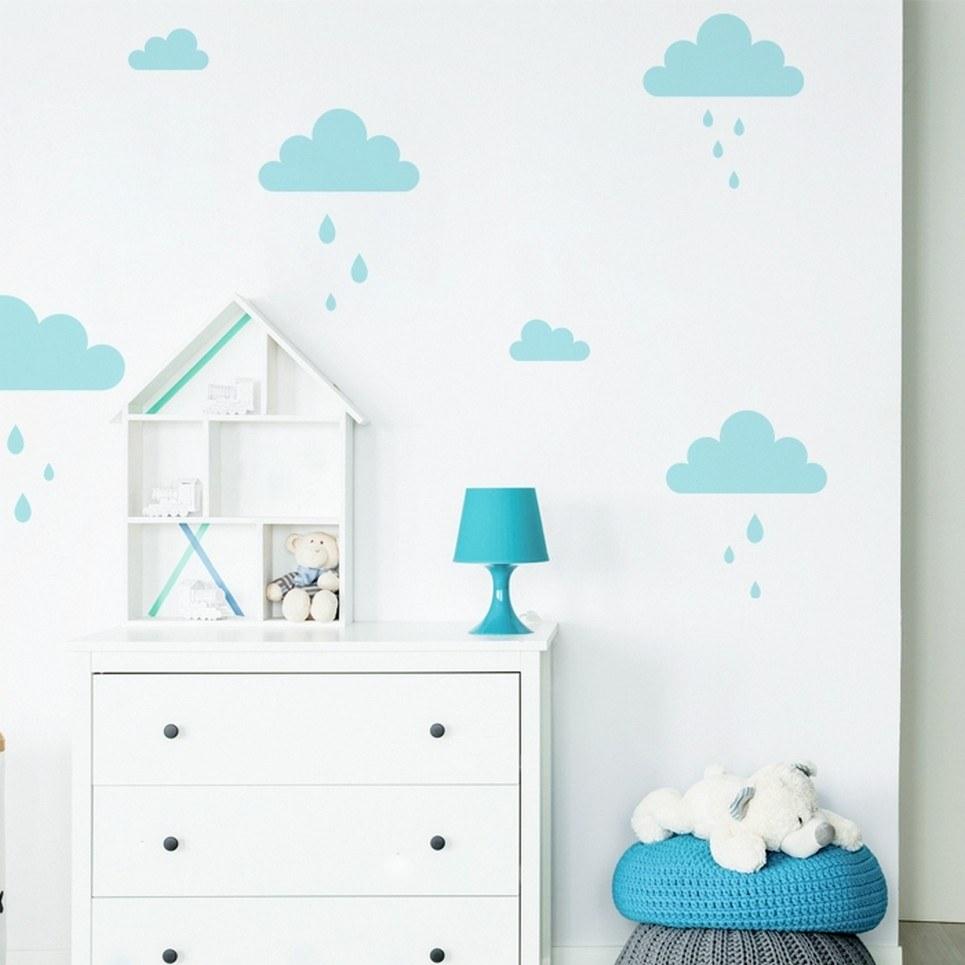 Blue Pastel Clouds Children's Wall Sticker