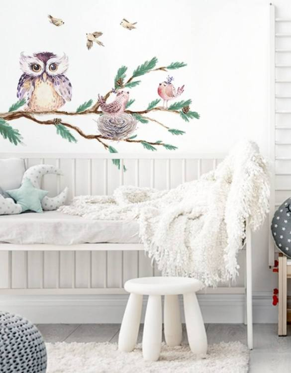 A beautiful scene for children's rooms and nurseries, the Branch with Owl Children's Wall Sticker is the perfect addition to any empty space (like walls or furniture). These wall stickers provide a flexible and cost-effective way to decorate your home.