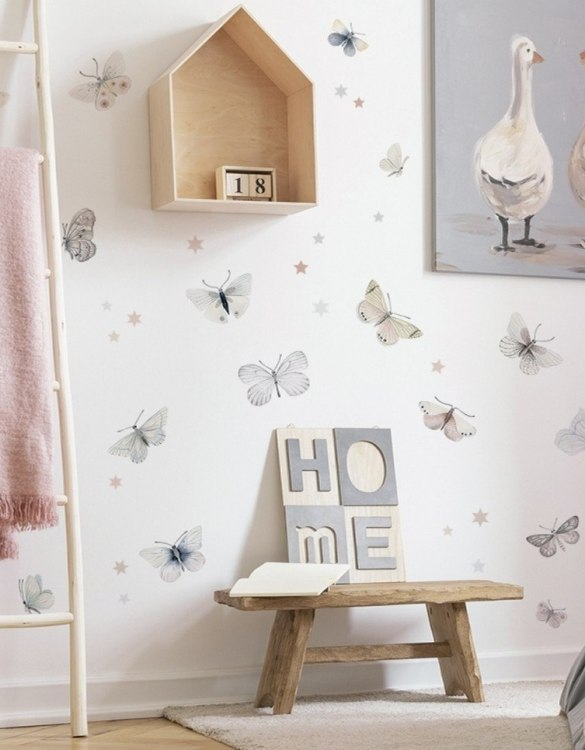 A beautiful scene for children's rooms and nurseries, the Butterflies Children's Wall Sticker is the perfect addition to any empty space (like walls or furniture). These wall stickers provide a flexible and cost-effective way to decorate your home.