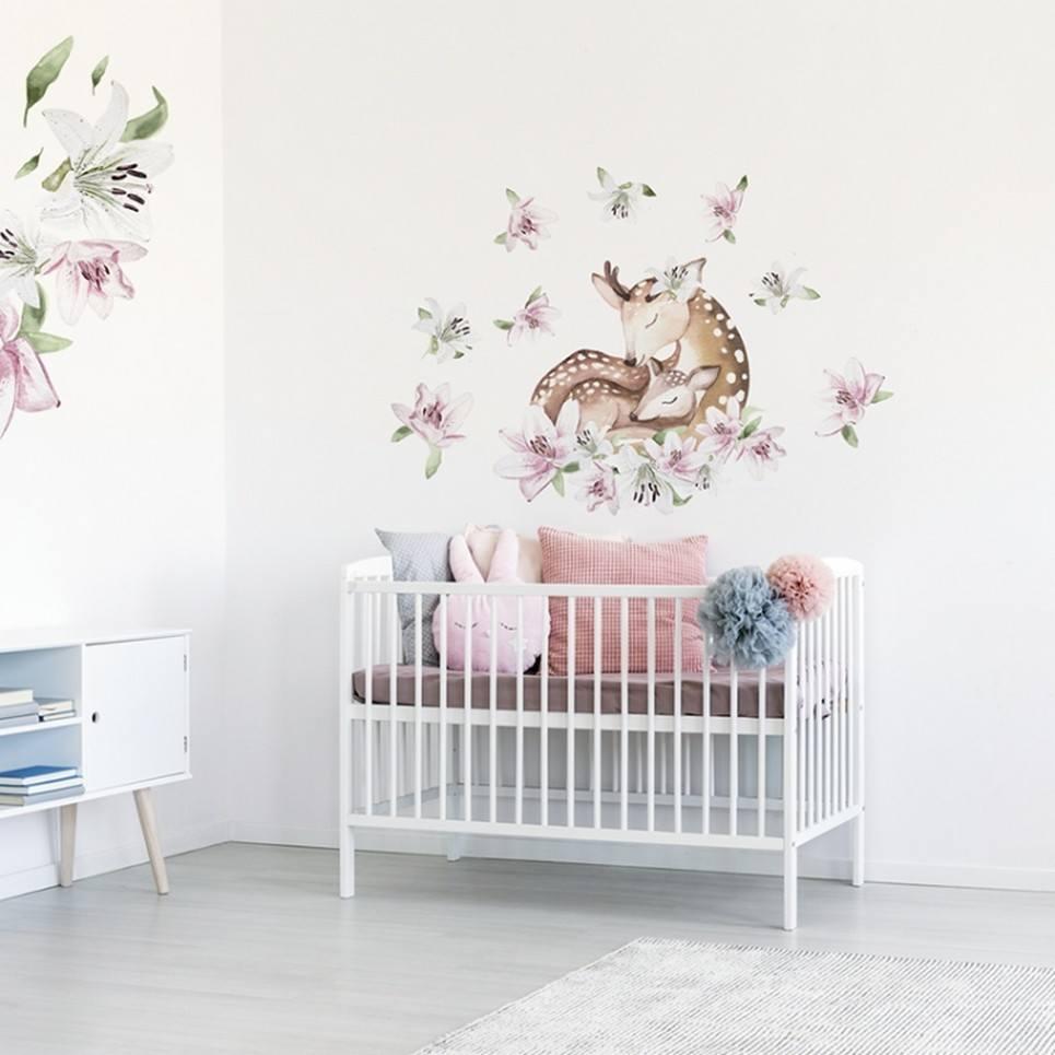 Deer with Lilies Children's Wall Sticker