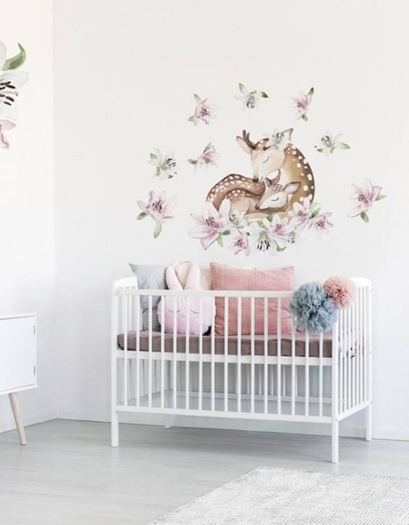 A beautiful scene for children's rooms and nurseries, the Deer with Lilies Children's Wall Sticker is the perfect addition to any empty space (like walls or furniture). These wall stickers provide a flexible and cost-effective way to decorate your home.