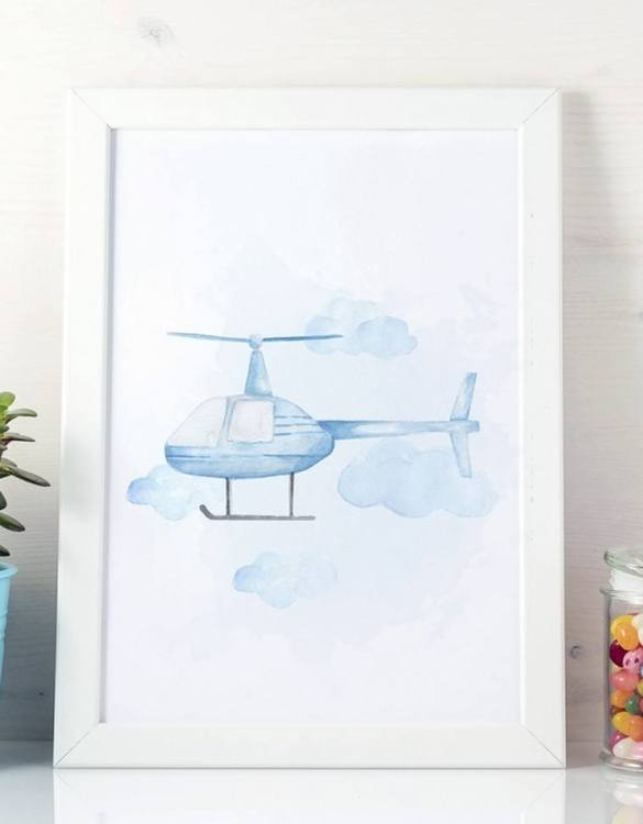 A unique keepsake that will create enchanting memories, the Helicopter Children's Poster is a really unique and eyecatching print that is loved by kids and adults. Encourage their wild side with this fun print. Designed in a playful font, they will make a great addition to any nursery, child's room, or playroom.