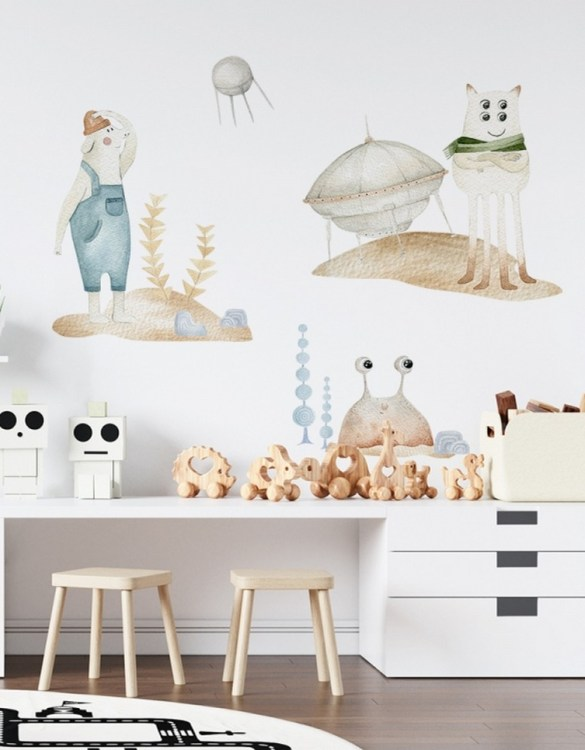 A beautiful scene for children's rooms and nurseries, the Kazik, Marian and Bolek Space Set Children's Wall Sticker is the perfect addition to any empty space (like walls or furniture). These wall stickers provide a flexible and cost-effective way to decorate your home.