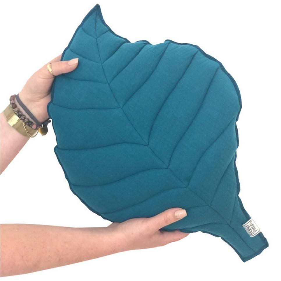 Leaf-shaped Pillow Petrol
