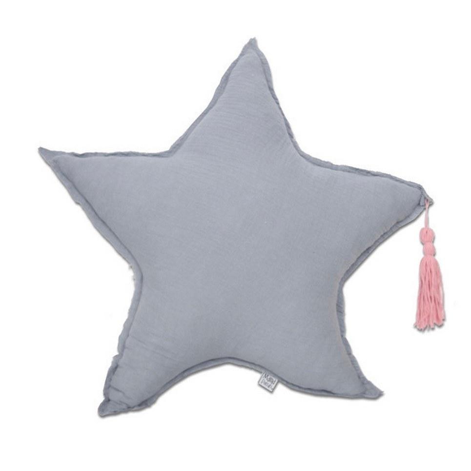 Muslin Grey Star Pillow