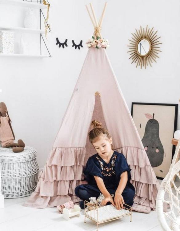 Add the perfect touch to your child's room with the Nanushka Children's Teepee Tent. A perfect hideaway for tiny people, this decorative kids' play tent is a wonderful space for little ones to call their own and immerse themselves in imaginative play.