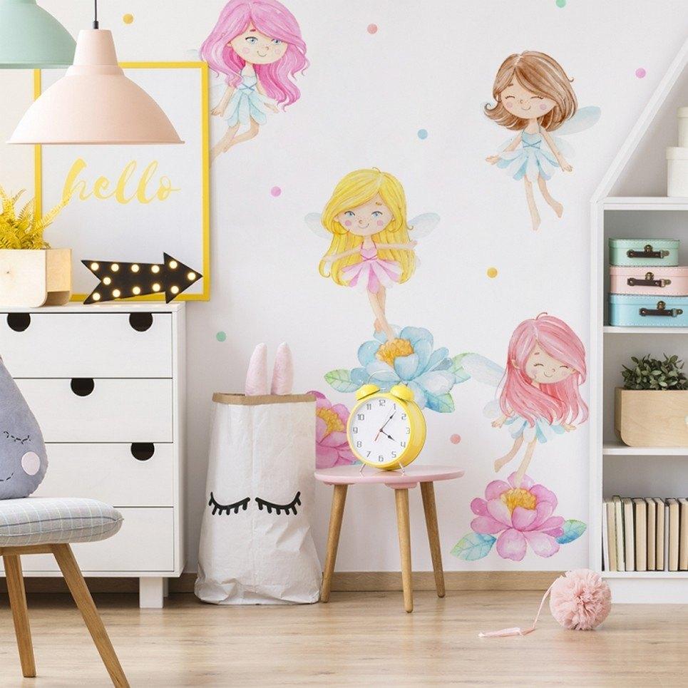 Pastel Fairies Children's Wall Sticker