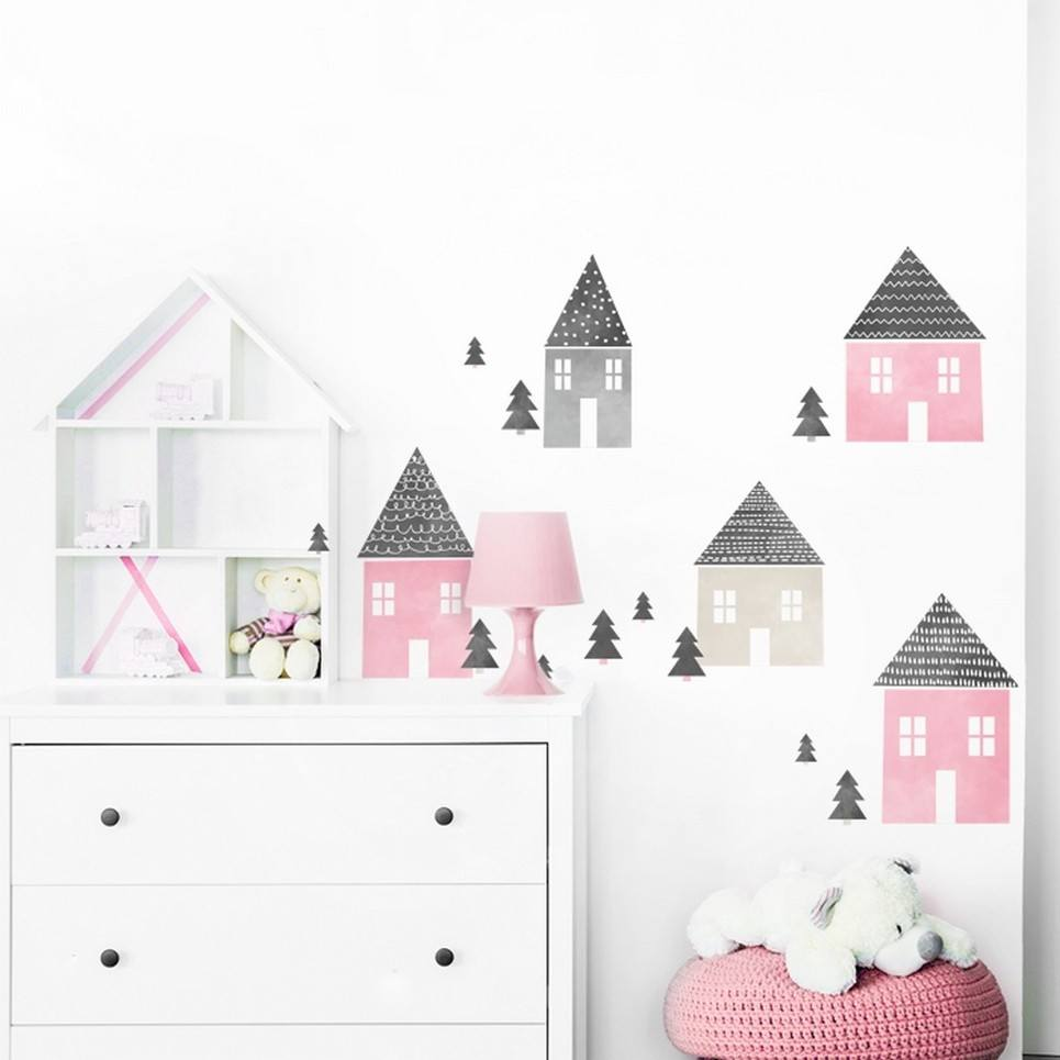 Pink Houses Children's Wall Sticker
