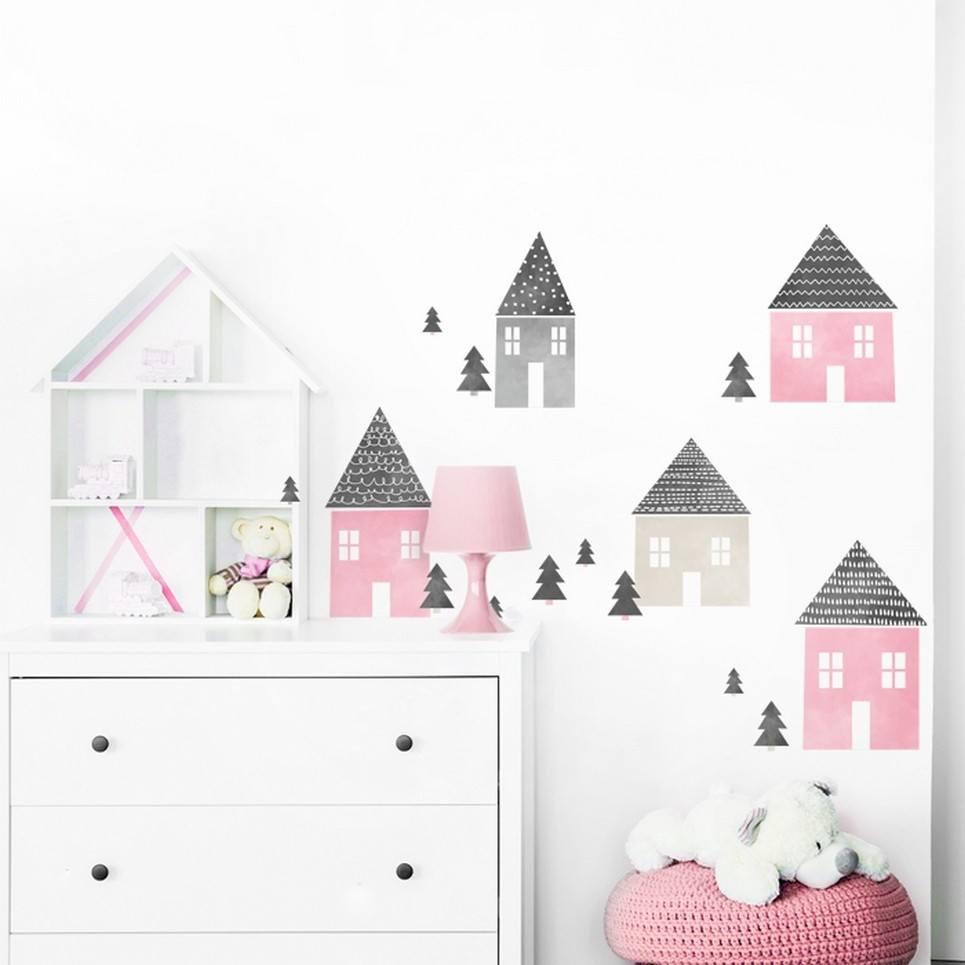 Pink Houses Children's Wall Sticker