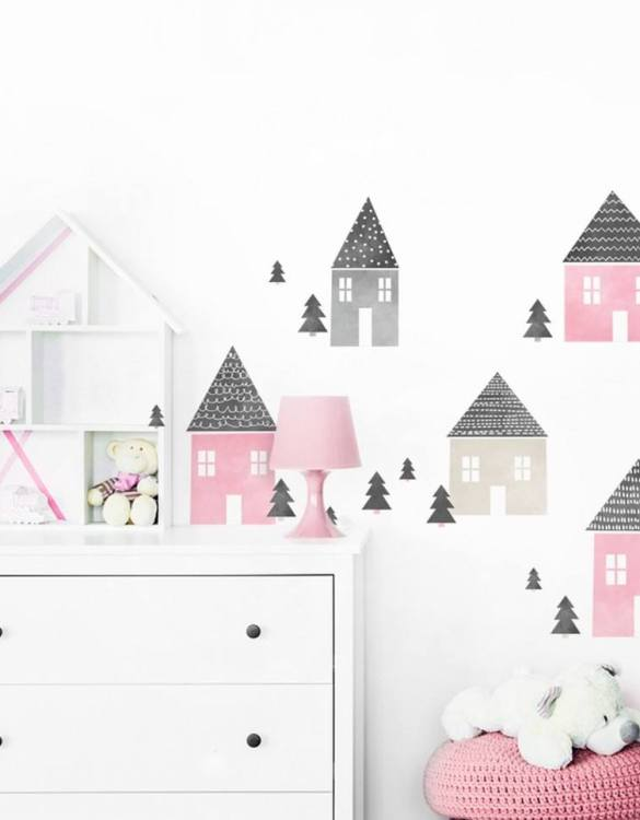 A beautiful scene for children's rooms and nurseries, the Pink Houses Children's Wall Sticker is the perfect addition to any empty space (like walls or furniture). These wall stickers provide a flexible and cost-effective way to decorate your home.