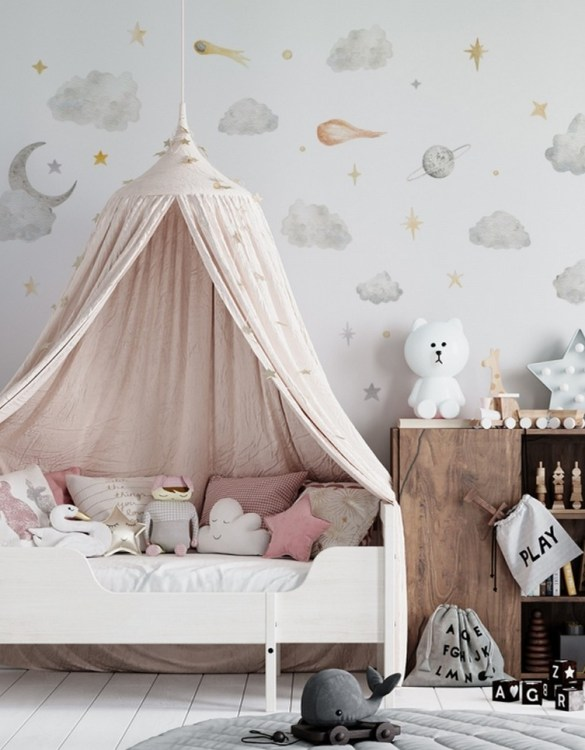 A beautiful scene for children's rooms and nurseries, the Star Clouds Children's Wall Sticker is the perfect addition to any empty space (like walls or furniture). These wall stickers provide a flexible and cost-effective way to decorate your home.