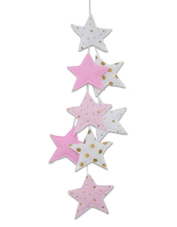 The ideal gift for a new baby or a Christening present, the Star Garland Pink & Gold makes a fab addition to a party or a little one's room. A gentle garland will decorate your nursery room and contribute to the development of the baby.