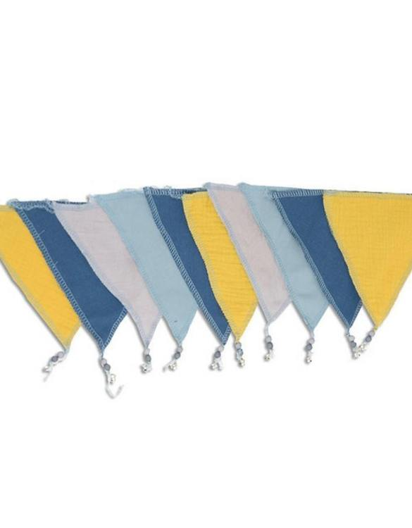 The ideal gift for a new baby or a Christening present, the Triangle Bunting Milky Way makes a fab addition to a party or a little one's room. A gentle garland will decorate your nursery room and contribute to the development of the baby.