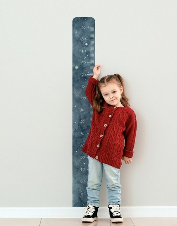 A real eye-catcher in every child's room, the Cosmos Child Growth Chart is the perfect way to follow your child's development and growth. Bright and colourful, this height chart wall sticker will look good in nurseries, bedrooms, or playrooms.