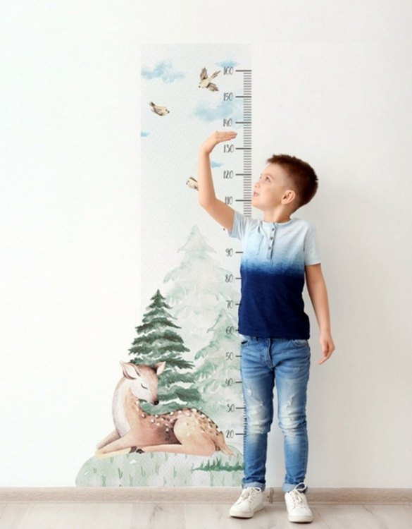 A real eye-catcher in every child's room, the Deer Child Growth Chart is the perfect way to follow your child's development and growth. Bright and colourful, this height chart wall sticker will look good in nurseries, bedrooms, or playrooms.