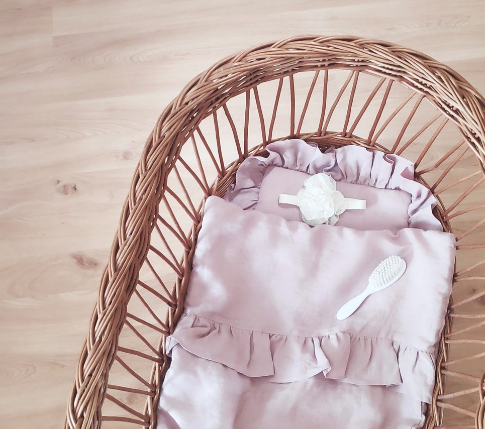 Dusty Pink Baby Pillow With Ruffle