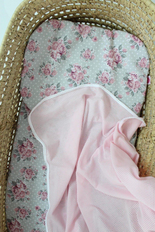 Flowers Pink Moses Basket Bedding Set