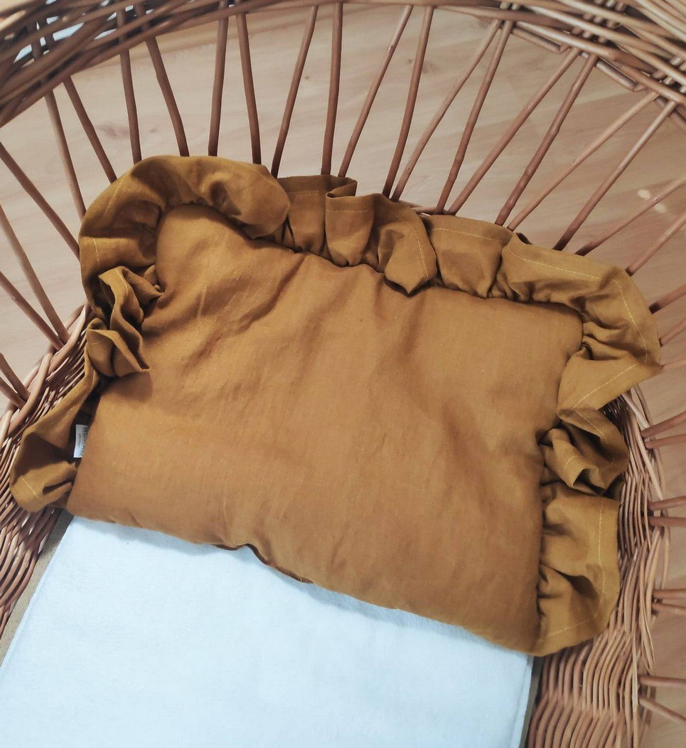 Mustard Baby Pillow With Ruffle