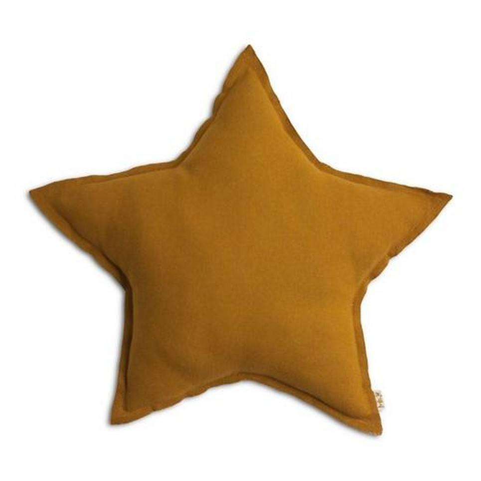 Mustard Linen Star Pillow