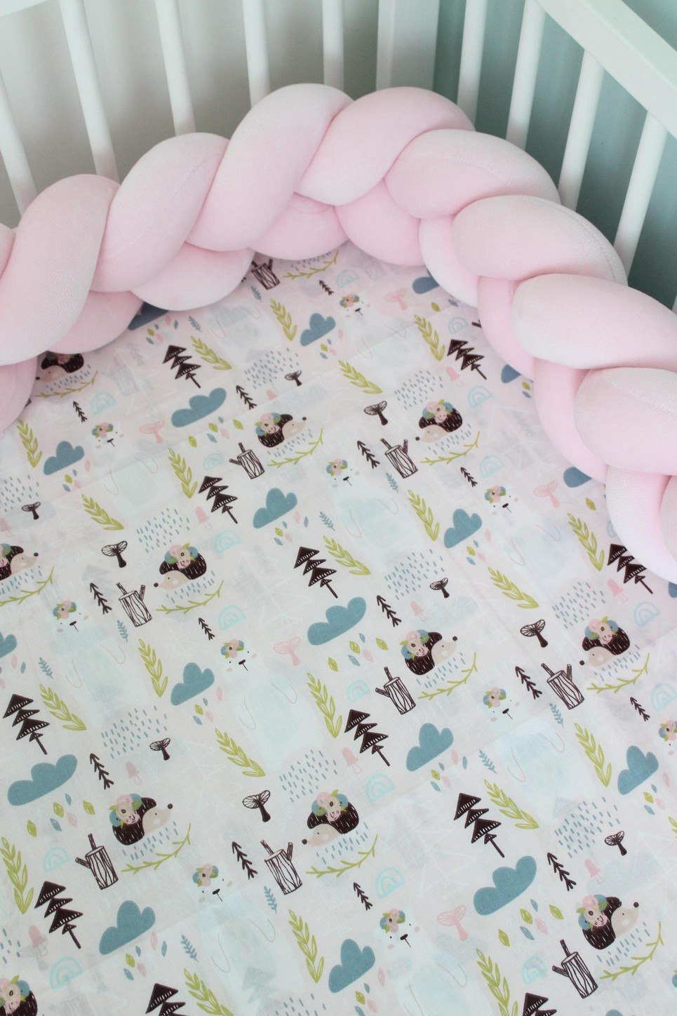Teddy Bears and Hedgehogs Fitted Crib Sheet