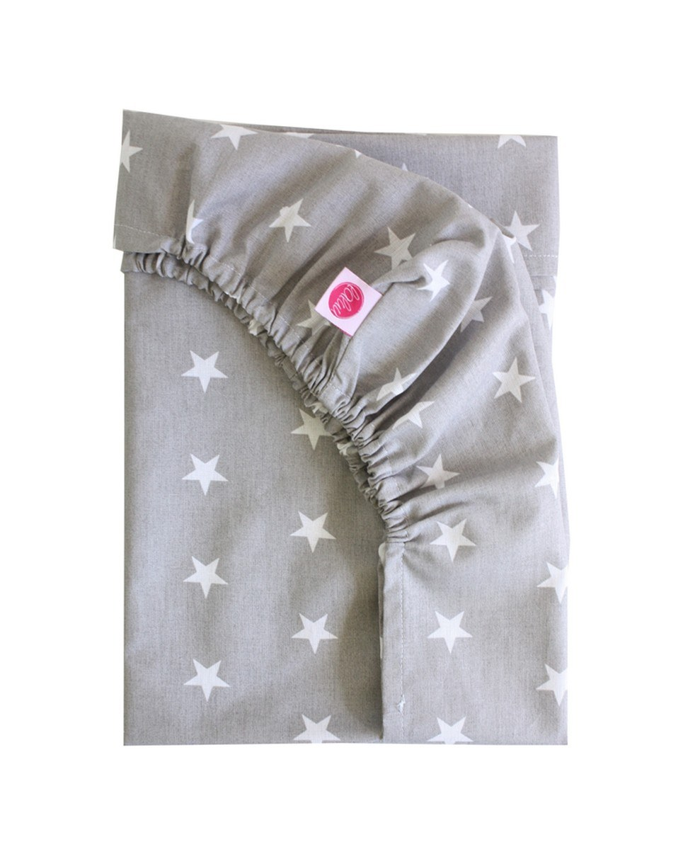 White Stars On Gray Fitted Crib Sheet