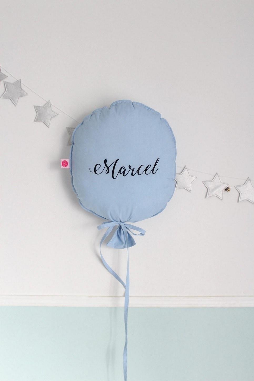 Azure Blue Personalized Balloon Pillow
