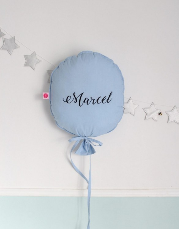 Perfect to bring the child inside everyone, the Azure Blue Personalized Balloon Pillow is a wonderfully decorative and timeless addition to any child's room. This beautiful nursery balloon pillow is made from soft and cosy cotton.