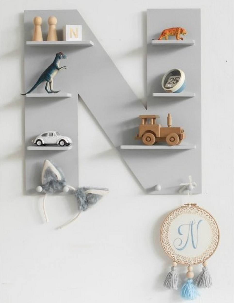 Grey Letter Children's Wall Shelf