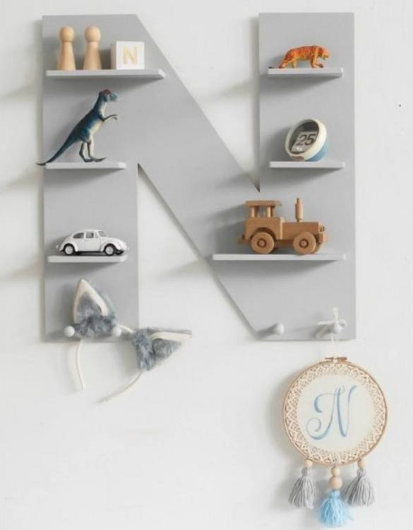 The perfect way to display your treasures, the Grey Letter Children's Wall Shelf is a beautiful addition to any child's bedroom or playroom! Put decorations, stuffed animals or smaller toys on the shelf and get a unique element of a children's room.