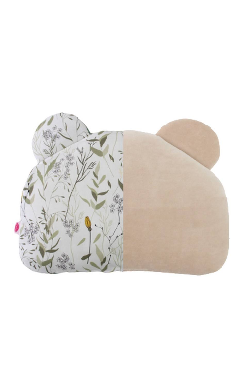 Meadow and Beige Teddy Bear Baby Pillow