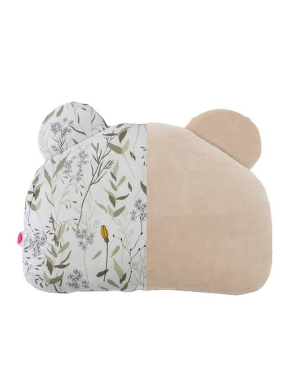 Beautifully soft and cuddly, the Meadow and Beige Teddy Bear Baby Pillow is an adorable gift for a baby shower and also for nursery or kids' room decoration. This baby head pillow can be used with car seats, strollers, and baby prams.