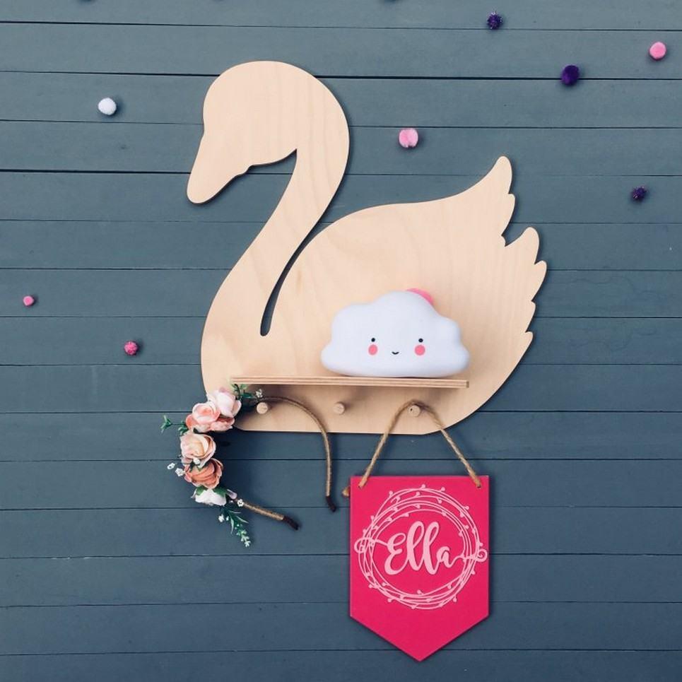 Natural Swan Children's Wall Shelf