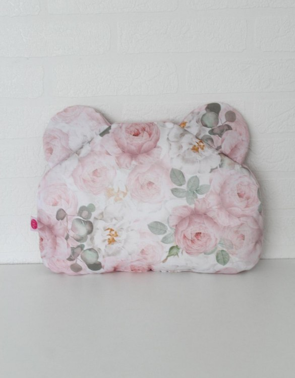 Beautifully soft and cuddly, the Peonie Teddy Bear Baby Pillow is an adorable gift for a baby shower and also for nursery or kids' room decoration. This baby head pillow can be used with car seats, strollers, and baby prams.