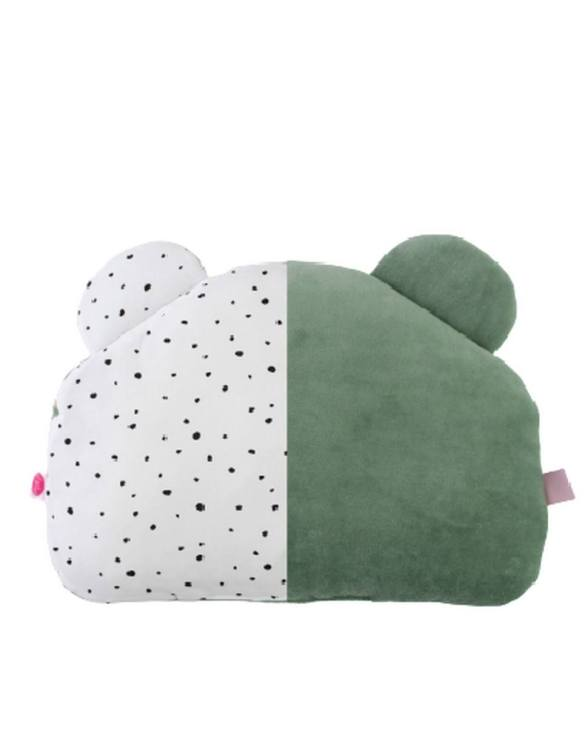 Beautifully soft and cuddly, the Sage and Black Spots Teddy Bear Baby Pillow is an adorable gift for a baby shower and also for nursery or kids' room decoration. This baby head pillow can be used with car seats, strollers, and baby prams.